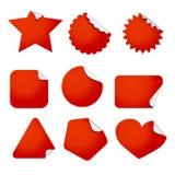 De reeks van het stickeretiket Rode kleverig op wit Stock Foto