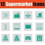 De Reeks van het supermarktpictogram Royalty-vrije Stock Foto