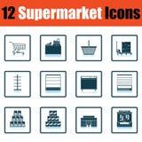 De Reeks van het supermarktpictogram Stock Foto