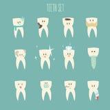 De reeks van het tandenpictogram, (concept gezond) illustratie Stock Afbeeldingen