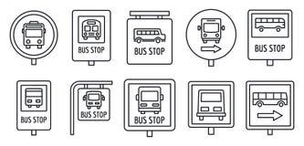 De reeks van het het tekenpictogram van de stadsbushalte, overzichtsstijl royalty-vrije illustratie