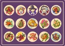 De reeks van het thanksgiving daypictogram Stock Foto's