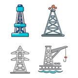 De reeks van het torenpictogram, beeldverhaalstijl vector illustratie