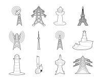 De reeks van het torenpictogram, overzichtsstijl royalty-vrije illustratie