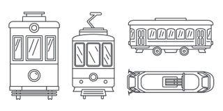 De reeks van het tramspoorpictogram, overzichtsstijl stock illustratie