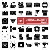 De reeks van het Videocamera glyph pictogram, de inzameling van camerasymbolen, vectorschetsen, embleemillustraties, foto onderte vector illustratie