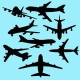 De reeks van het vliegtuigsilhouet Stock Afbeeldingen