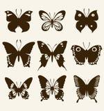 De reeks van het vlindersilhouet Stock Afbeelding