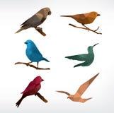 De reeks van het vogelspictogram, laag-polystijl Stock Foto