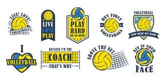 De reeks van het volleyballembleem, vectorillustratie Royalty-vrije Stock Afbeelding