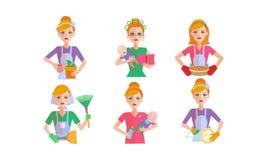 De reeks van het vrouwendagelijkse werk, ousewife het schoonmaken en huishouden vectorillustratie op een witte achtergrond royalty-vrije stock foto's