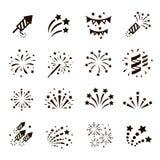 De reeks van het vuurwerkpictogram, vector royalty-vrije illustratie