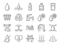 De reeks van het waterpictogram Inbegrepen pictogrammen als waterdaling, vochtigheid, vloeistof, fles, draagstoel en meer stock illustratie