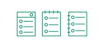 De reeks van het webpaginapictogram Geef lijnembleem uit Nota Vectorillustation vector illustratie