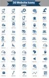50 de reeks van het websitepictogram, Blauwe versie Stock Afbeeldingen