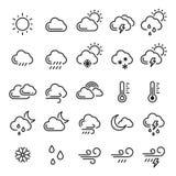 De reeks van het weerpictogram, meteorologie en klimaatsymbool vector illustratie