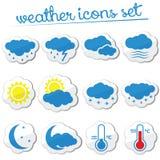 De reeks van het weerpictogram (stickers) Royalty-vrije Stock Foto