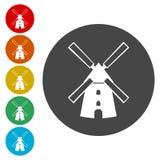 De reeks van het windmolenpictogram royalty-vrije illustratie