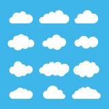 De reeks van het wolkenpictogram Vlak Ontwerp Vector illustratie Royalty-vrije Stock Fotografie
