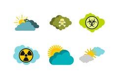 De reeks van het wolkenpictogram, vlakke stijl vector illustratie