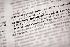 De Reeks van het woordenboek - Politiek: algemene procureur Stock Foto