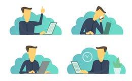 De reeks van het zakenmanbureau situaties Dagelijkse taken op het werk bij de lijst stock illustratie
