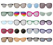 De reeks van het zonnebrilpictogram Gekleurde schouwspelkaders Verschillende vormen Stock Foto