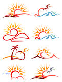 De reeks van het zonneschijnembleem stock illustratie