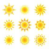 De reeks van het zonsymbool Stock Afbeeldingen
