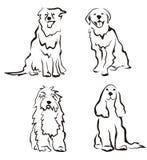 De reeks van honden silhouetten Stock Foto's