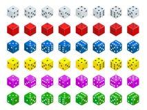 De reeks van isometrisch dobbelt combinatie De witte, rode, gele, groene, blauwe en purpere pook kubeert geïsoleerde vector royalty-vrije illustratie