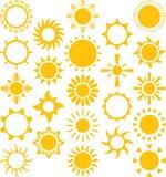 De reeks van ized zonnen Royalty-vrije Stock Afbeelding