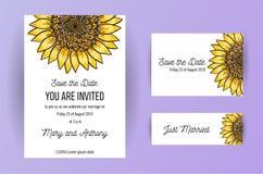 De reeks van de kaart van de huwelijksuitnodiging bloeit Zonnebloem A5 de ontwerpsjabloon van de huwelijksuitnodiging op witte ac vector illustratie