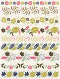 De reeks van Kantdocument met bloem en doorbladert stock illustratie