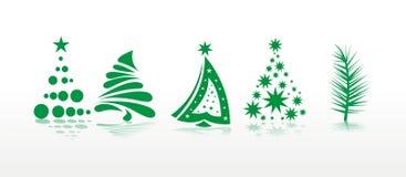 De reeks van Kerstmis bomen Stock Foto