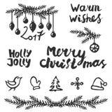De reeks van Kerstmis Handdrawing decoratie en het van letters voorzien stock foto's