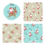 De reeks van Kerstmis Naadloos patroon met Santa Claus vector illustratie