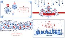 De reeks van de Kerstmisbanner, eenvoudige stijl stock illustratie