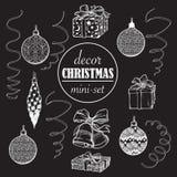 De reeks van de Kerstmisdecoratie Reeks populaire Kerstmis decoratieve voorwerpen Nauwkeurige grafische geïsoleerde ontwerpelemen Stock Foto's