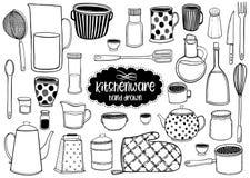 De reeks van keukengerei en de werktuigen overhandigen getrokken illustraties moderne die tekeningsstijl, op witte achtergrond wo vector illustratie