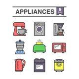 De reeks van keukentoestellen van 9 pictogrammen vector illustratie