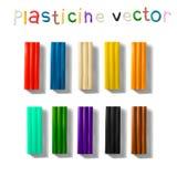 De reeks van de kleurenplasticine op een witte achtergrond wordt geïsoleerd die 3d vectorillustratie Royalty-vrije Stock Afbeeldingen