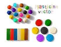 De reeks van de kleurenplasticine op een witte achtergrond wordt geïsoleerd die 3d vectorillustratie Royalty-vrije Stock Fotografie
