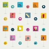 De reeks van kleurrijke moderne lange vlakte stelt pictogram in de schaduw. Stock Afbeeldingen