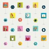 De reeks van kleurrijke moderne lange vlakte stelt pictogram in de schaduw. Royalty-vrije Stock Foto
