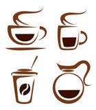 de reeks van koffie vormt vectorpictogrammen tot een kom Royalty-vrije Stock Afbeelding