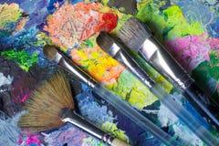 De reeks van kunsthulpmiddelen: verfborstels Stock Afbeeldingen