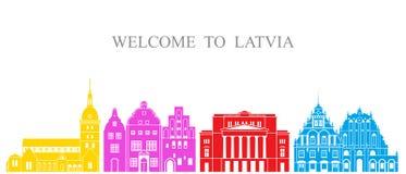 De reeks van Letland De geïsoleerde architectuur van Letland op witte achtergrond Stock Foto's