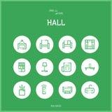 De reeks van lijn colorfuul pictogrammen van zaal en Huisruimte Stock Foto's