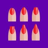 De reeks van manicured rode spijkers Royalty-vrije Stock Afbeelding